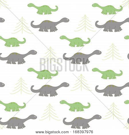 Seamless pattern composed of repetitive dinosaurs. Images of cute dinosaurs can be used for children's background.
