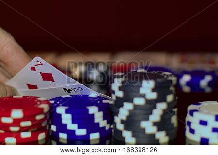 Bluffing in Texas hold'em. Poker player has very bad pocket cards.