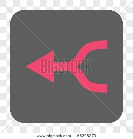 Combine Arrow Left interface toolbar button. Vector icon style is a flat symbol in a rounded square button pink and gray colors chess transparent background.