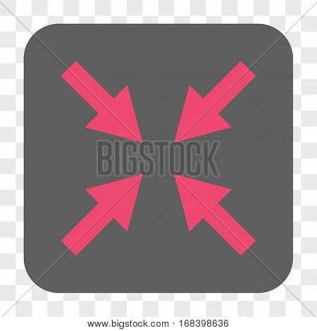 Compress Arrows interface toolbar button. Vector icon style is a flat symbol in a rounded square button pink and gray colors chess transparent background.