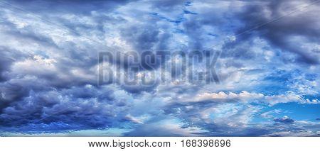 dark storm clouds. overcast sky panorama blue