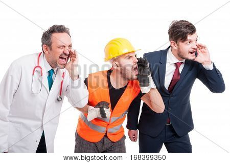 Angry Constructor, Medic Or Doctor And Businessman