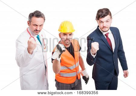 Aggressive Team Of Docor, Constructor And Businessman