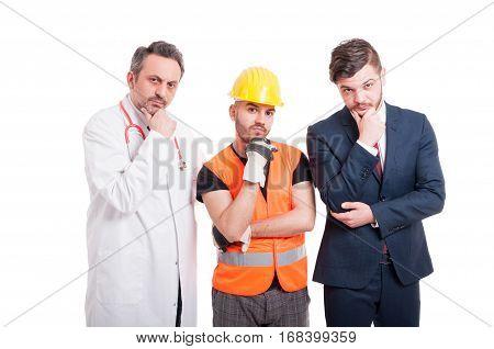 Group Of People Looking Pensive