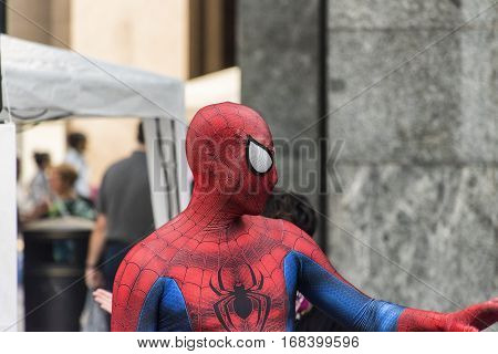 VARESE, ITALY - OCTOBER 2, 2016: Varese (Lombardy Italy): man disguised as Spiderman in the Monte Grappa square