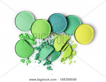 Round Green Crashed Eyeshadows For Makeup As Sample Of Cosmetics Product