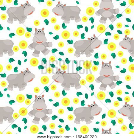 Hippos cartoon vector seamless pattern. Savannah wild zoo animal background with yellow flowers.