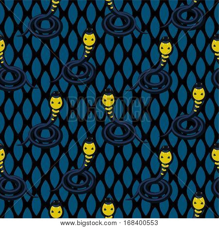 Cobra dark blue seamless vactor patttern. Dangerous snake fashion background.