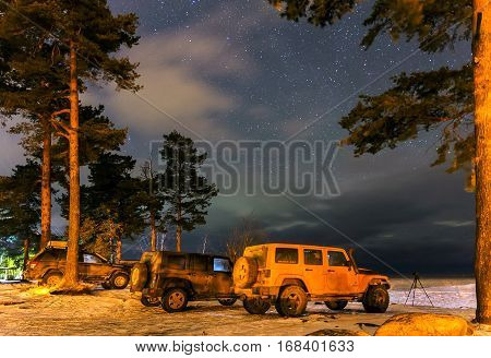 Karelia, Russia - February 02, 2017 Jeep Wrangler on the shore of lake Ladoga, Wrangler is a compact SUV produced by Chrysler