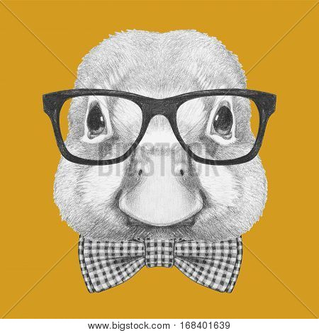 Portrait of Duck with glasses and bow tie. Hand drawn illustration.