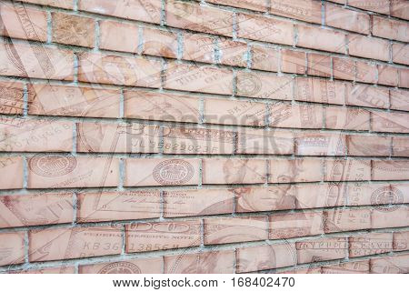 us dollar on brick wall as background