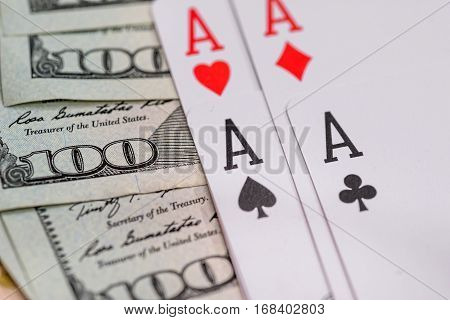 four poker aces with us dollar close up