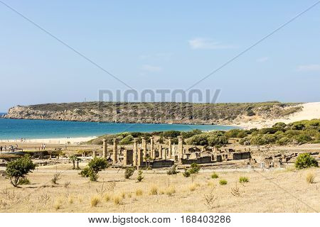 Scenic landscape with ruins of Baelo Claudia is an ancient Roman town on the coast of Spain.