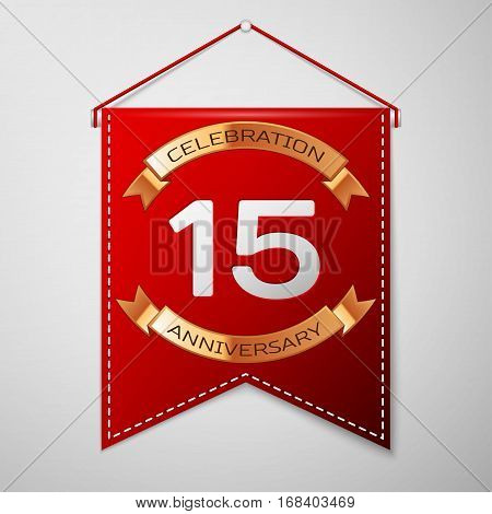 Red pennant with inscription Fifteen Years Anniversary Celebration Design over a grey background. Golden ribbon. Colorful template elements for your birthday party. Vector illustration