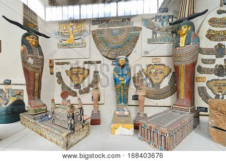 CAIRO, EGYPT - 02 JANUARY 2016: Historical artifacts in Egyptian Museum in Cairo.