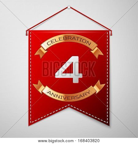 Red pennant with inscription Four Years Anniversary Celebration Design over a grey background. Golden ribbon. Colorful template elements for your birthday party. Vector illustration