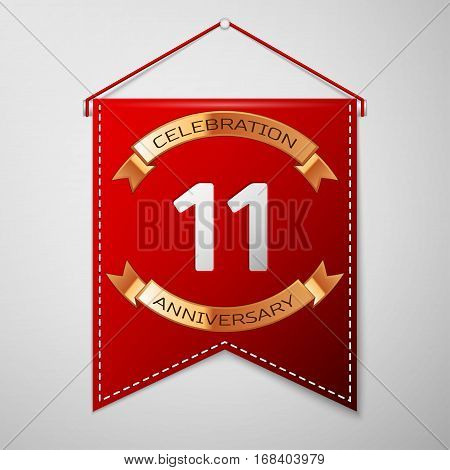 Red pennant with inscription Eleven Years Anniversary Celebration Design over a grey background. Golden ribbon. Colorful template elements for your birthday party. Vector illustration