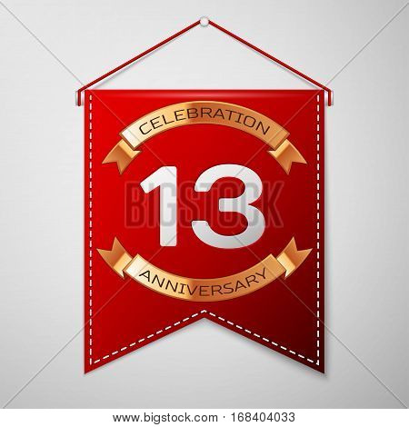 Red pennant with inscription Thirteen Years Anniversary Celebration Design over a grey background. Golden ribbon. Colorful template elements for your birthday party. Vector illustration