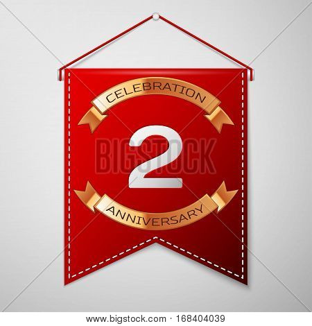 Red pennant with inscription Two Years Anniversary Celebration Design over a grey background. Golden ribbon. Colorful template elements for your birthday party. Vector illustration