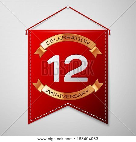 Red pennant with inscription Twelve Years Anniversary Celebration Design over a grey background. Golden ribbon. Colorful template elements for your birthday party. Vector illustration