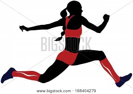 female athlete triple jump in compression socks