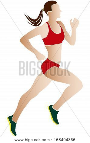 colored silhouette woman athlete runner running race
