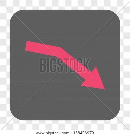 Fail Trend interface toolbar button. Vector icon style is a flat symbol inside a rounded square button pink and gray colors chess transparent background.