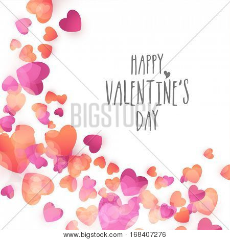 Beautiful glossy hearts decorated glossy background for Happy Valentine's Day celebration.