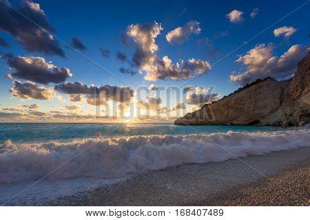 Porto Katsiki coast on Lefkada island in Greece on the sunset
