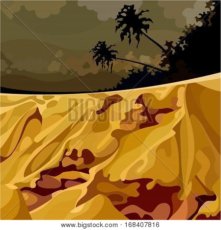 cartoon surreal landscape of the jungle at sunset