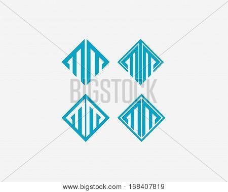 Abstract letter M icon alphabet symbol. Letter MM logo icon design vector sign.