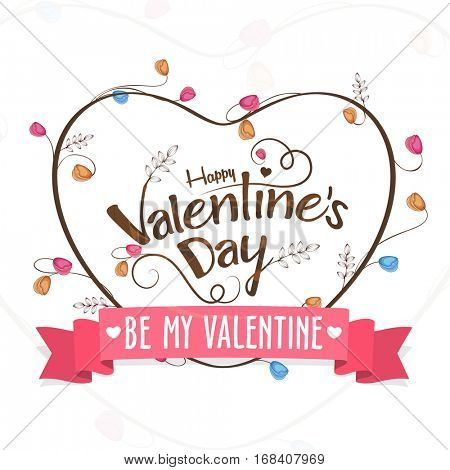Greeting card design with heart for Valentine's Day celebration.