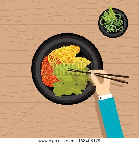 Asian food korean vegetable oriental hand eat flat design vector stock