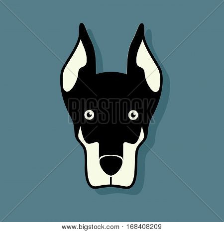 Dog logo design pet black and white animal illustration vector stock