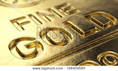 Fine Gold Bar macro - 3d illustration