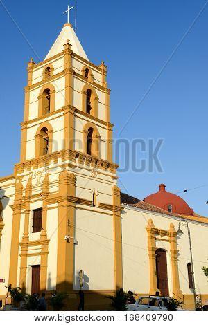 Camaguey Cuba - 11 January 2016: Nuestra Senora de la Soledad church in Camaguey Cuba
