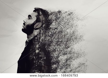 Creative abstract portrait of a guy shattered into pieces. isolated