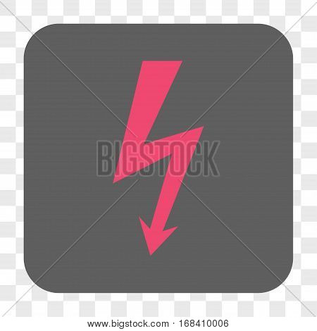 High Voltage interface toolbar button. Vector icon style is a flat symbol inside a rounded square button pink and gray colors chess transparent background.