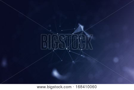 3D Abstract Polygonal Space Blue Background with Bright Low Poly Connecting Dots and Lines - Connection Structure - Futuristic HUD Design