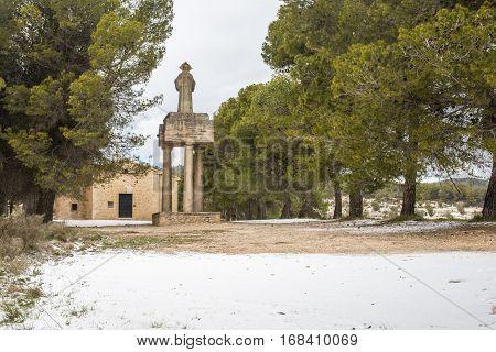 Polop Hermitage Alcoy, Alicante, Spain Landscape of Polop Hermitage of Alcoy Alicante, Spain after a historic snowfall