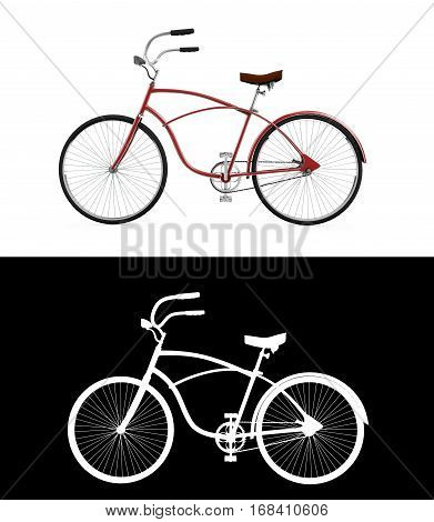 Red bicycle Bike theme elements Street speed sport bicycle Bike isolated on white background Sport track bike concept - 3d Rendering with an alpha channel