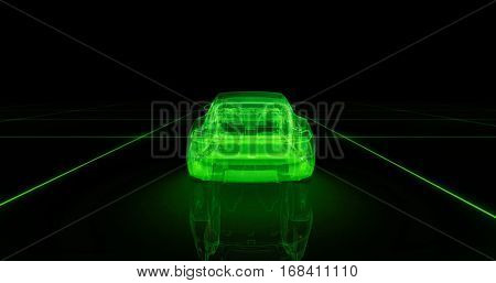 Sport car wire model with green neon ob black background. 3d render