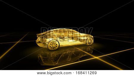 Sport car wire model with yellow neon ob black background. 3d render