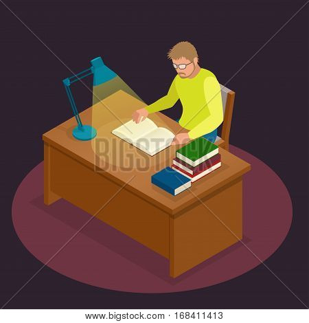 Education and school, study and literature. Flat isometric young man sitting in the library and reading a book, journal or magazine. Flat style vector illustration