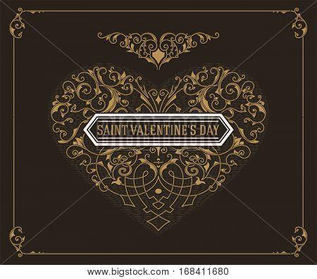 Ornate heart in retro style. Elegant element for logo design. Floral illustration for wedding invitations, greeting cards, Valentines cards with Vintage frame.