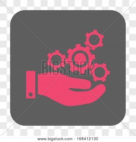 Mechanics Service interface toolbar button. Vector icon style is a flat symbol in a rounded square button pink and gray colors chess transparent background.