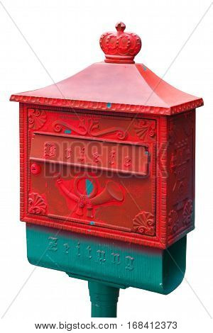 vintage german postbox red. Isolated on white