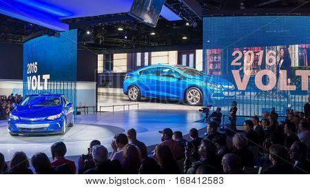 DETROIT MI/USA - JANUARY 12 2015: GM CEO Mary Barra / 2016 Chevrolet Volt reveal at the North American International Auto Show (NAIAS).