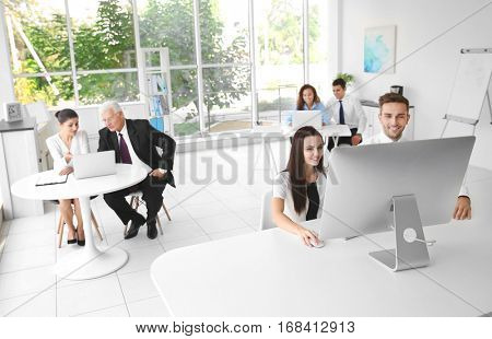 Business training concept. Colleagues working at office