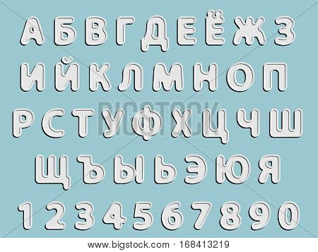 flat vector grey rounded Cyrillic font alphabet letters and numerals with black shadow and white glow